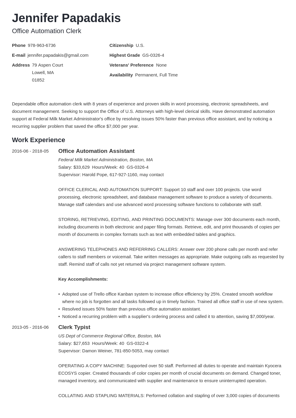 federal resume example template minimo