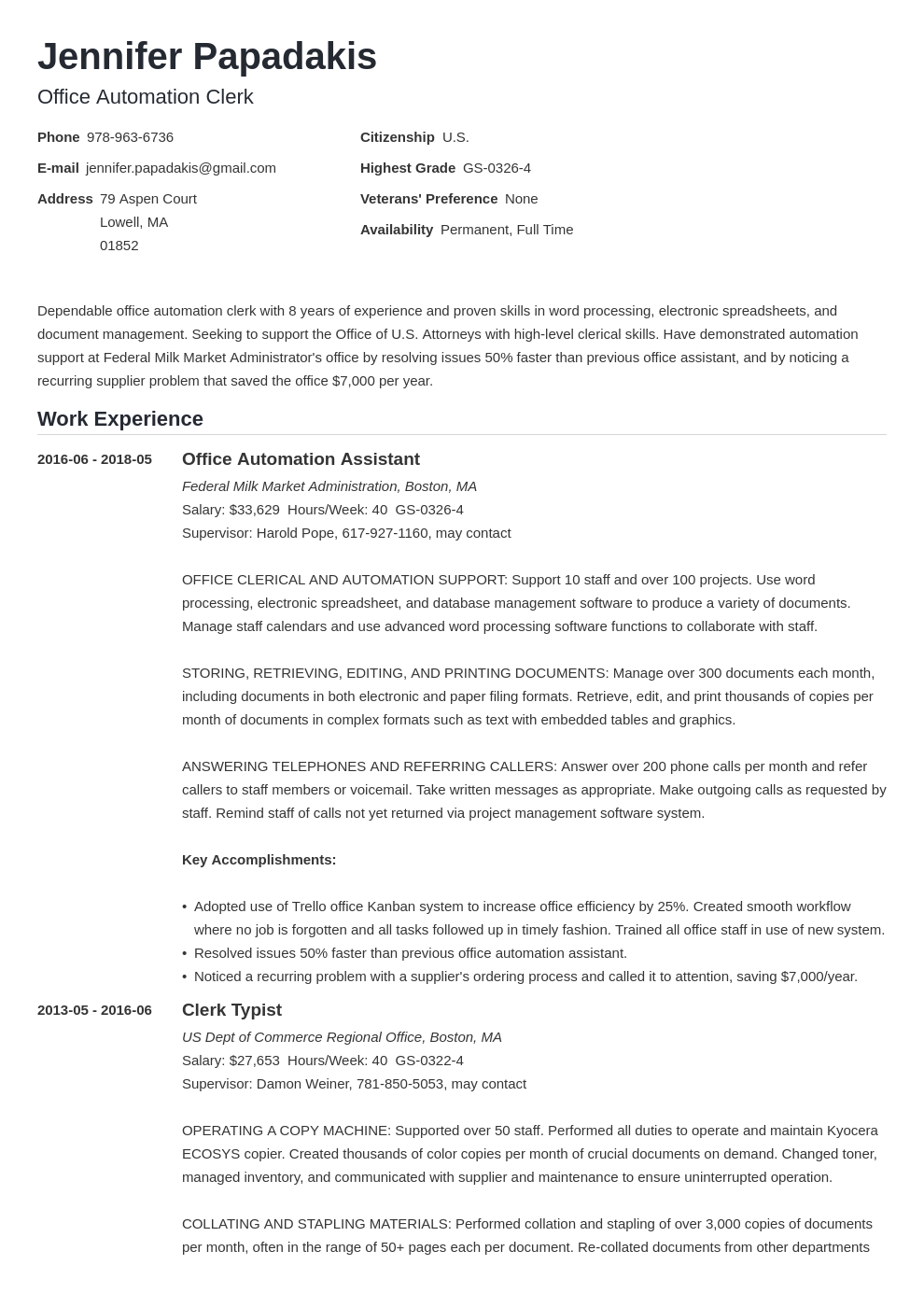 federal resume example template nanica