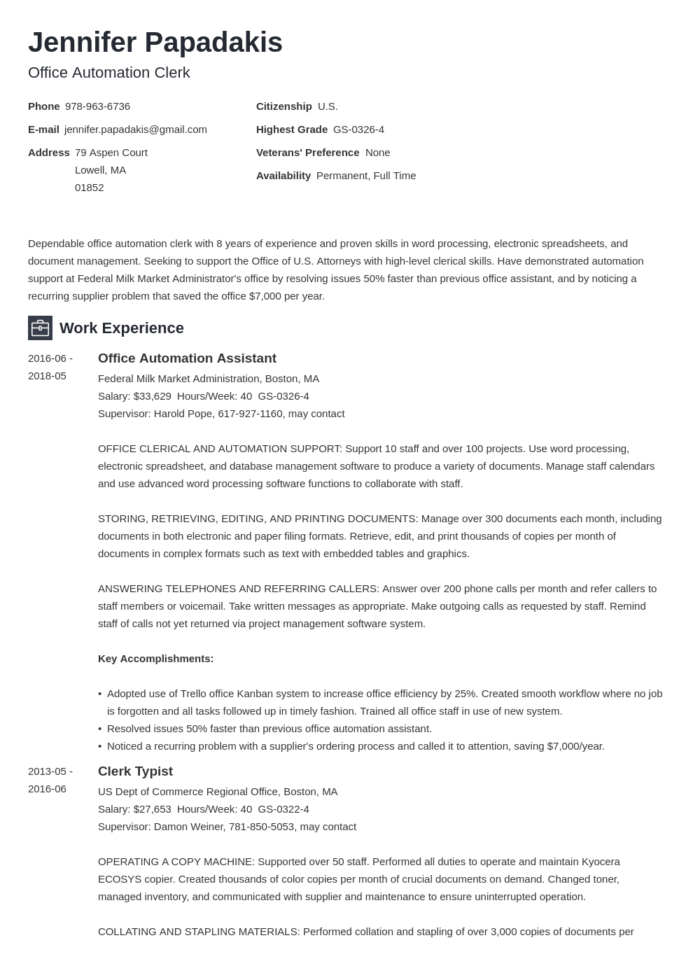 federal resume example template newcast