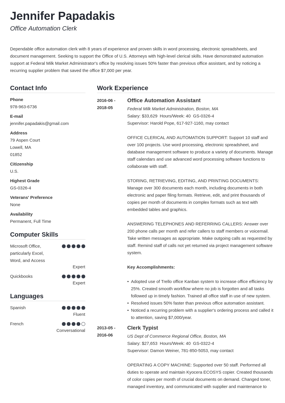 federal resume example template simple
