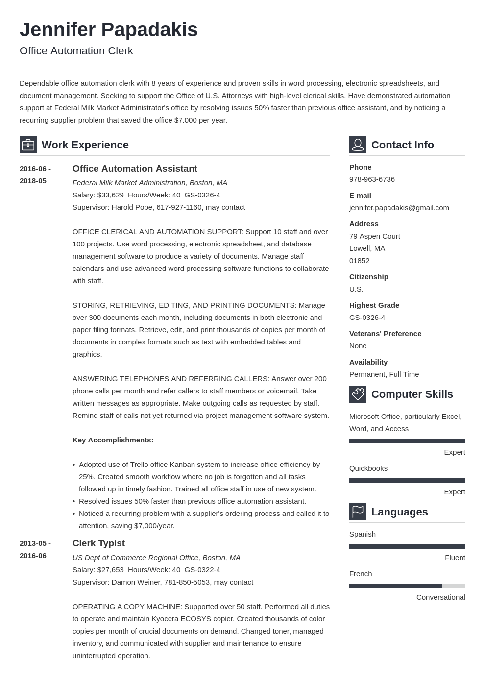 federal resume example template vibes