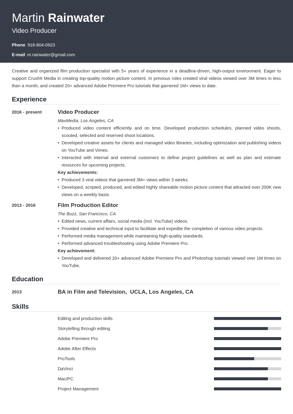 film resume example template influx