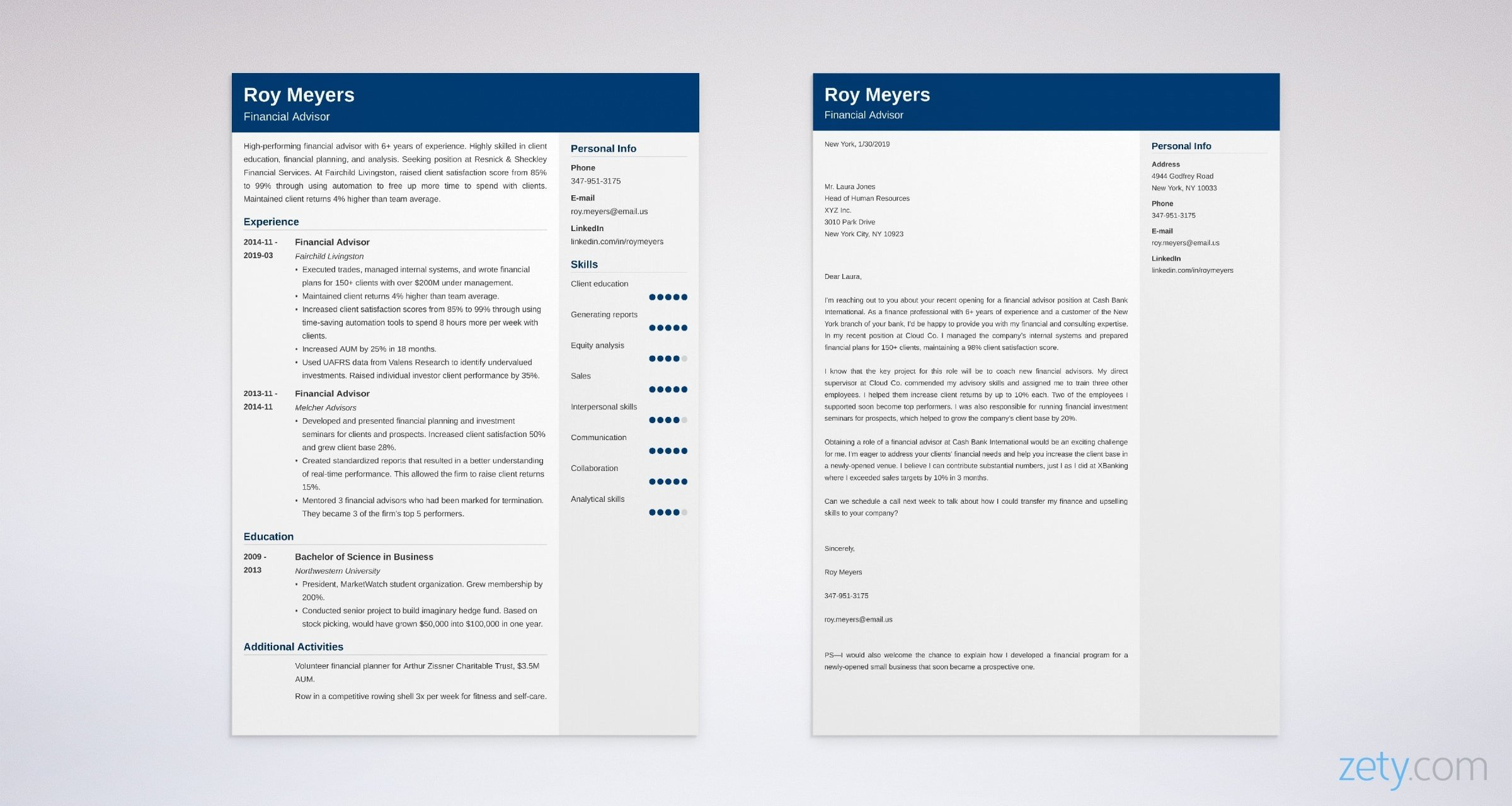 finance resume and cover letter set