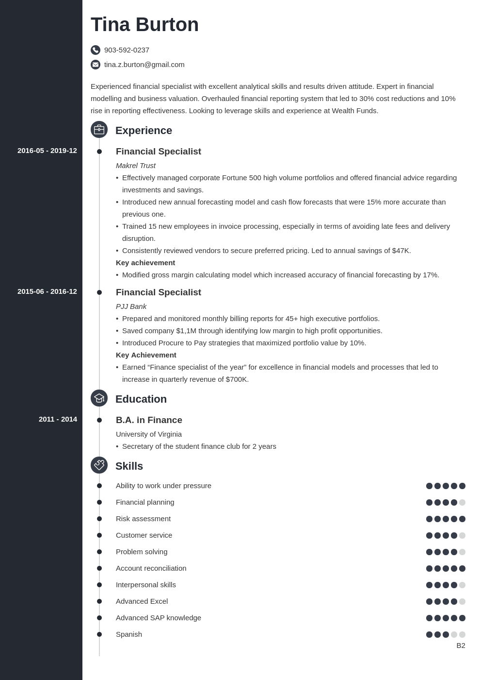 finance resume example template concept