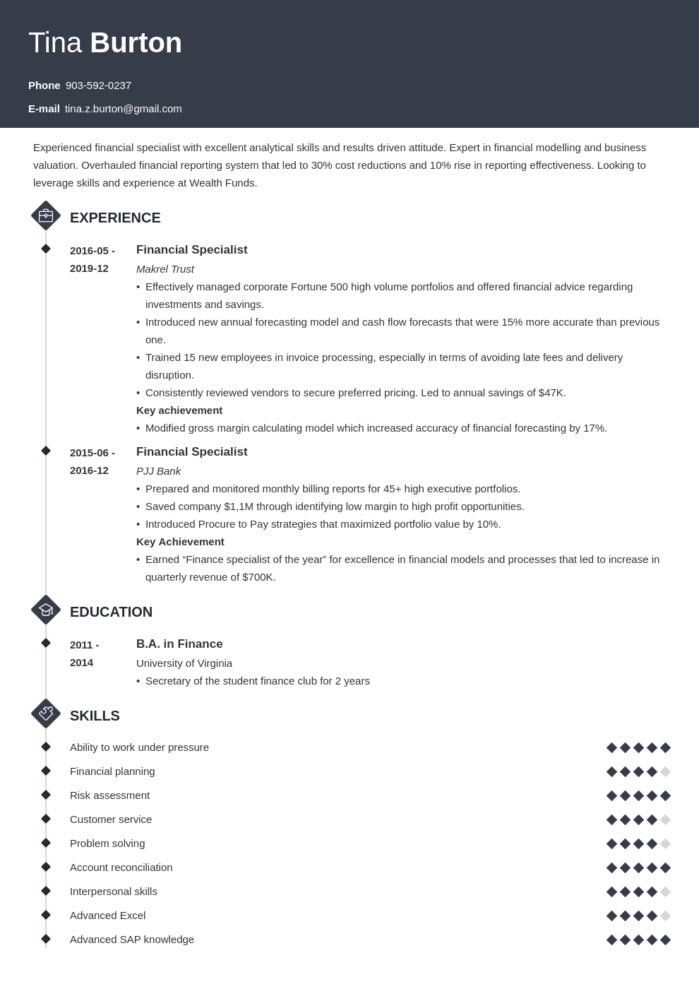finance resume example template diamond