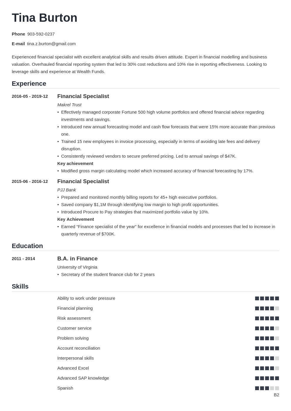 interests section finance resume