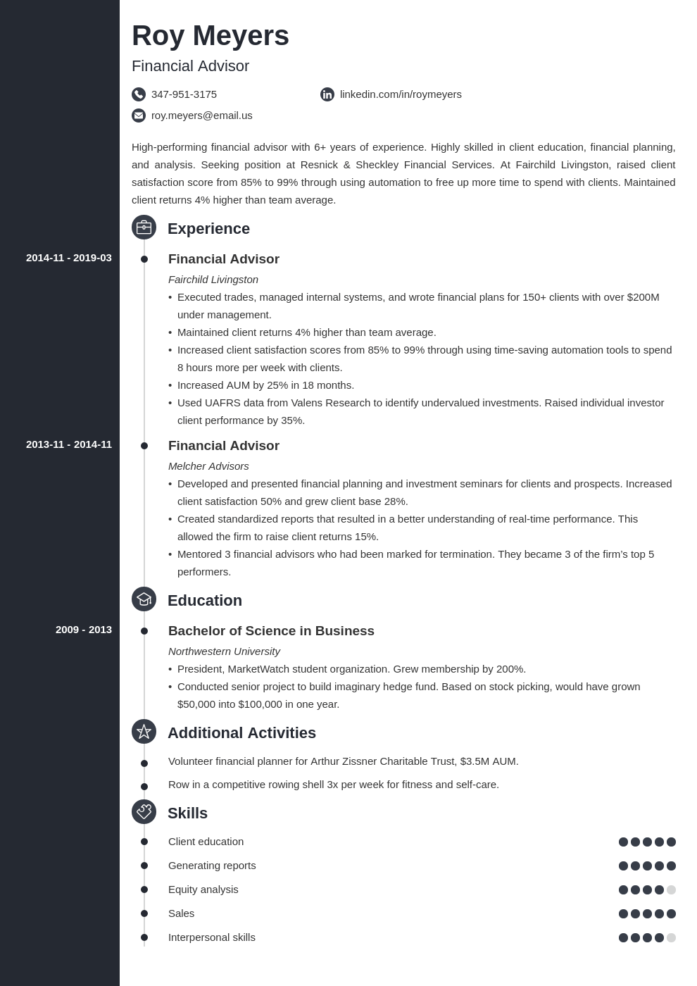 financial advisor resume example template concept