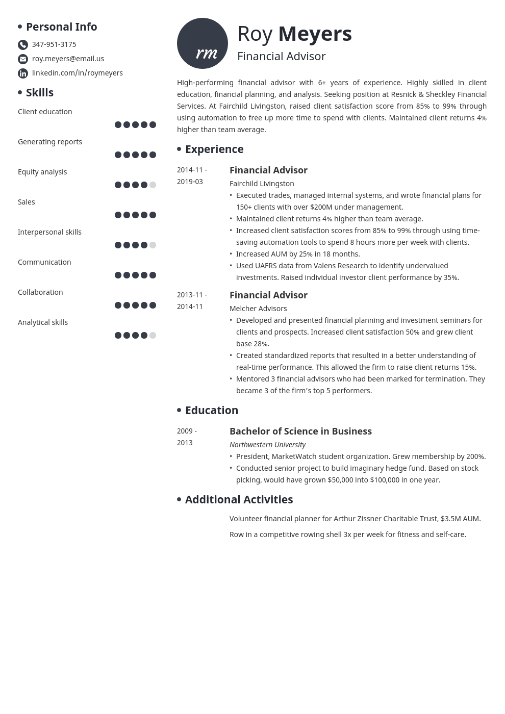 financial advisor resume example template initials