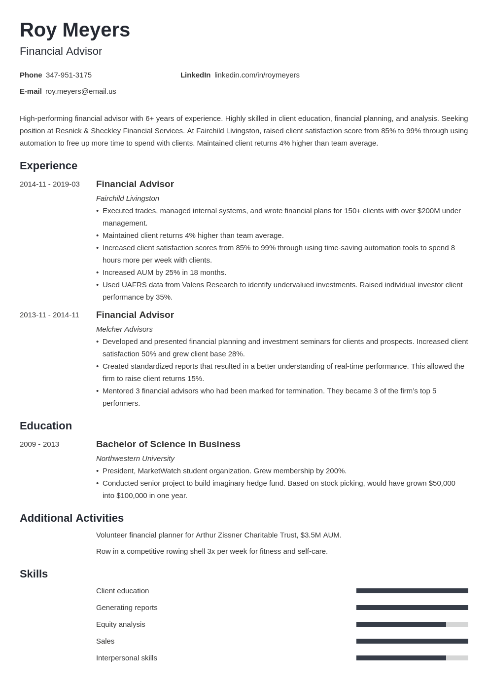 financial advisor resume example template minimo