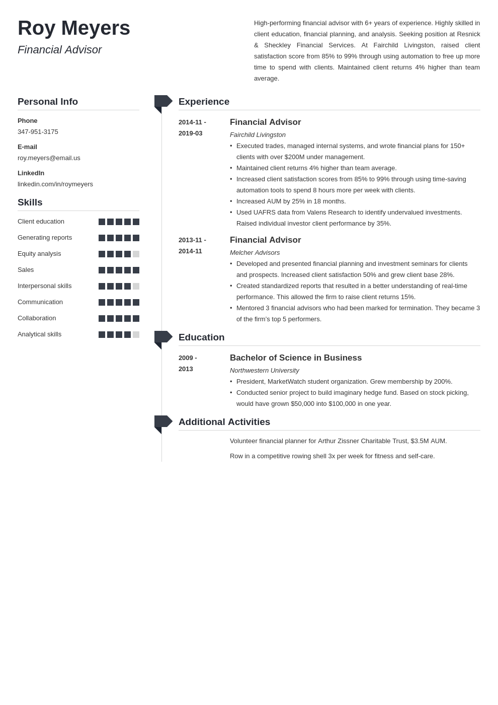 financial advisor resume example template muse