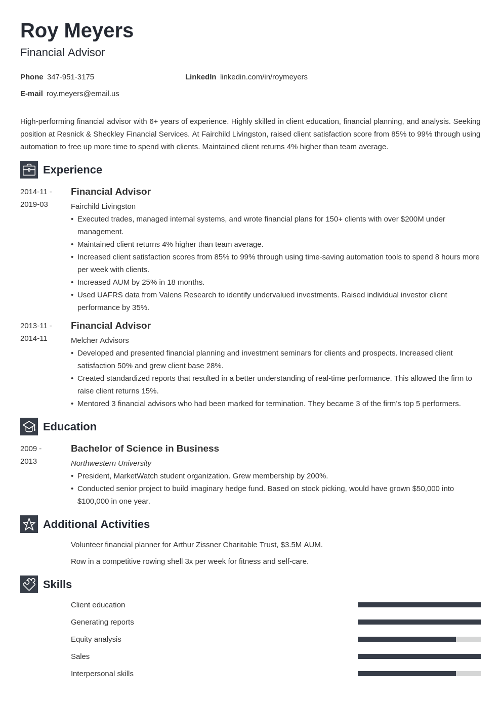 financial advisor resume example template newcast