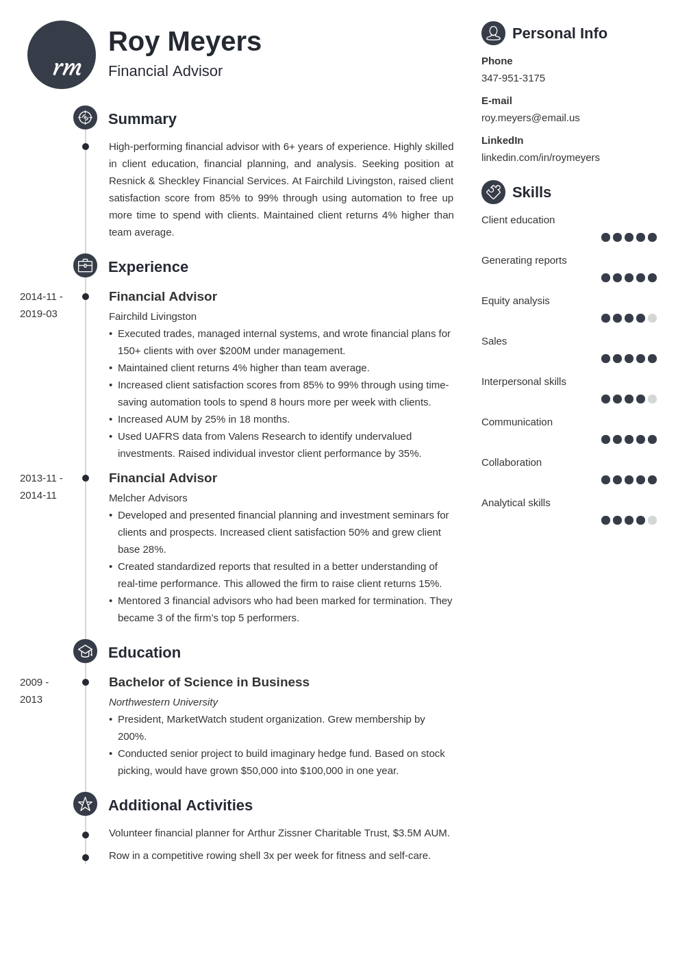 financial advisor resume example template primo