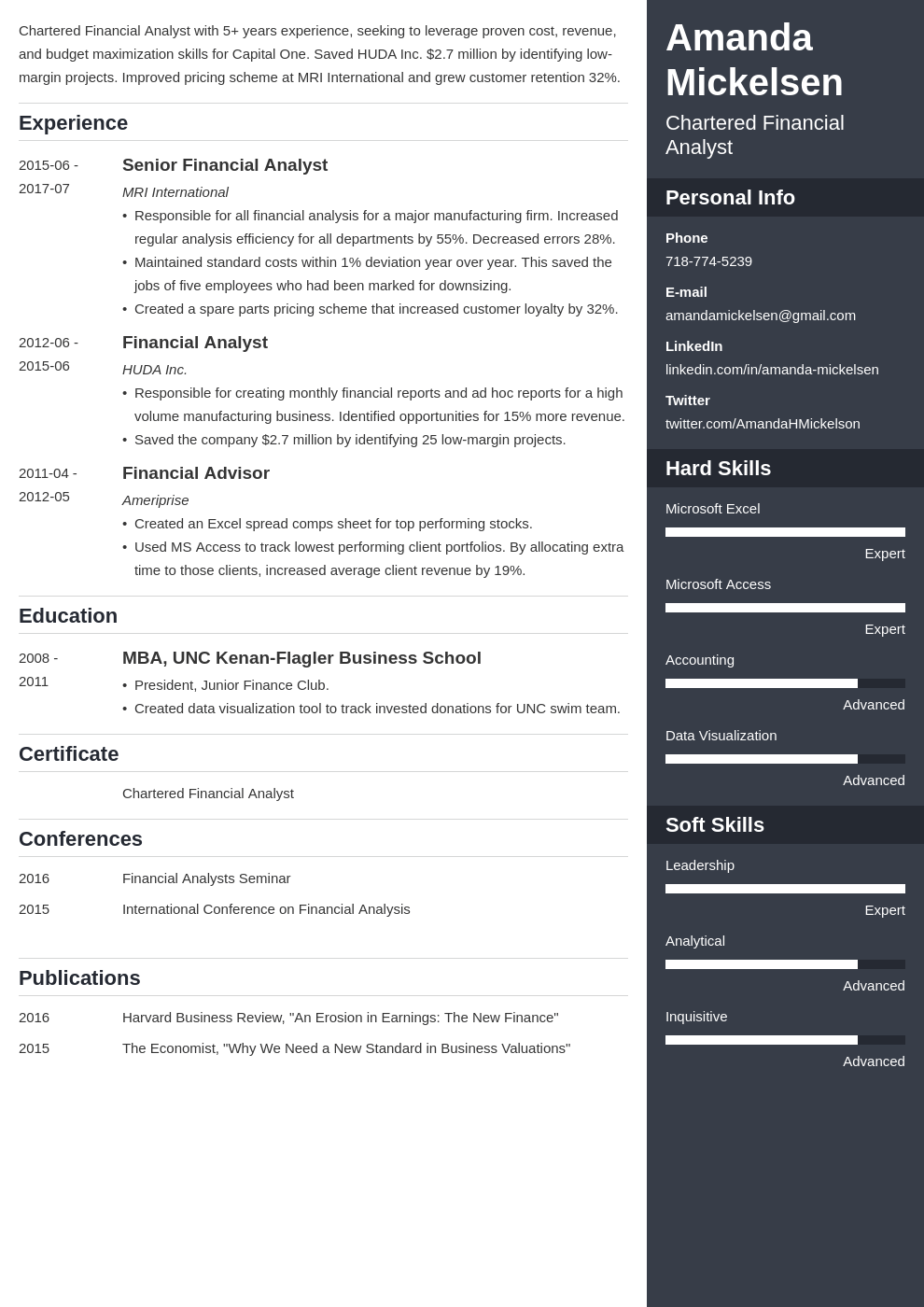 financial analyst resume template enfold