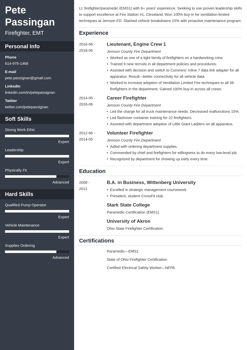 firefighter resume example template cascade