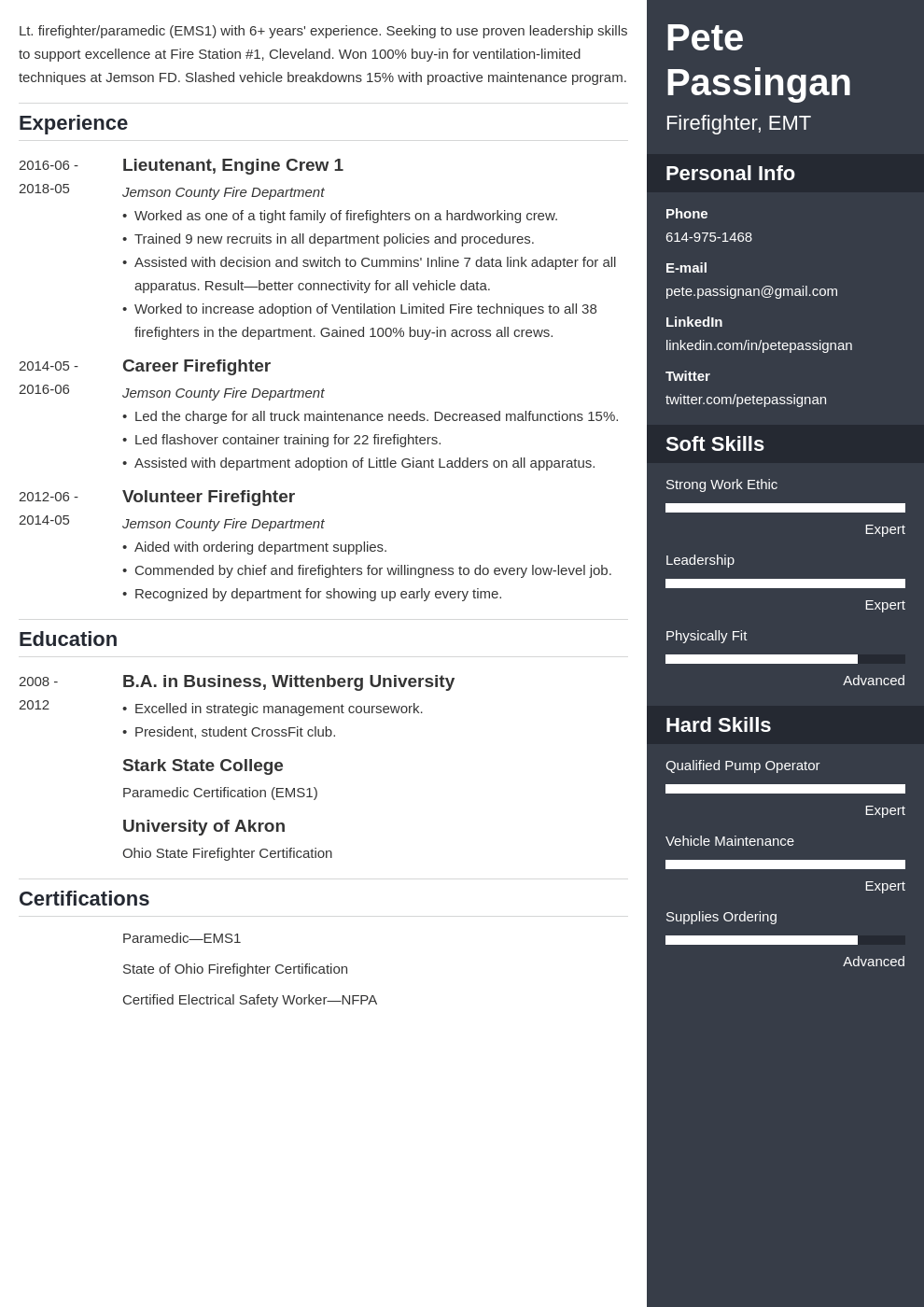 firefighter resume example template enfold