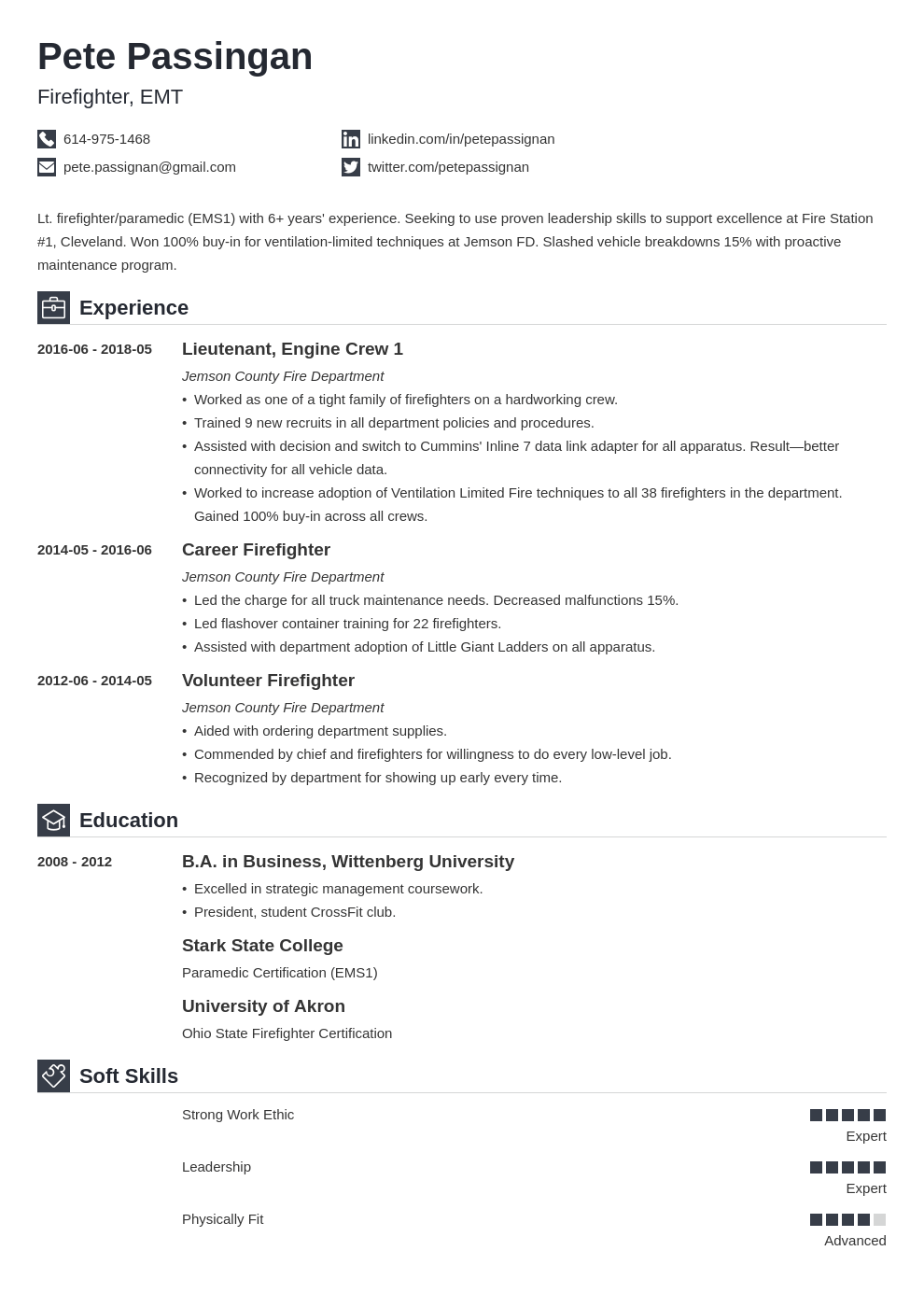 firefighter resume example template iconic