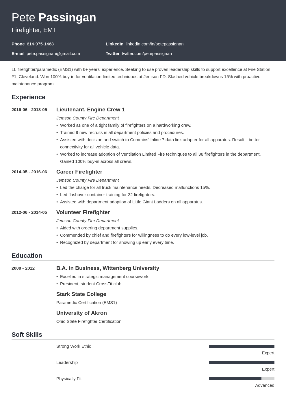 firefighter resume example template influx