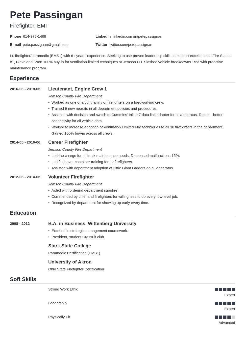 firefighter resume example template nanica