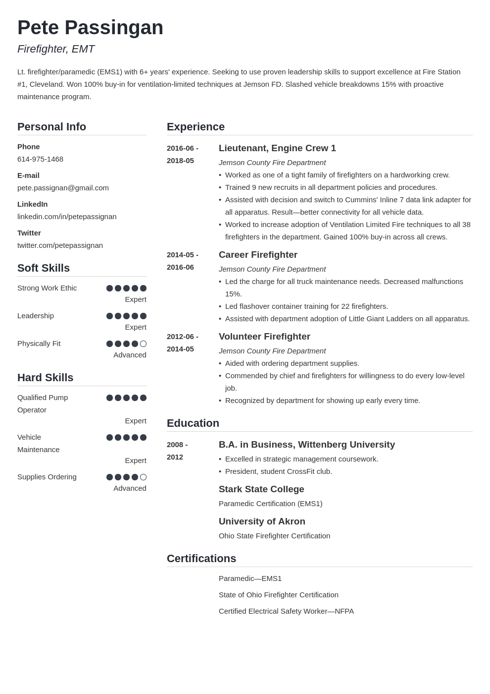 firefighter resume example template simple