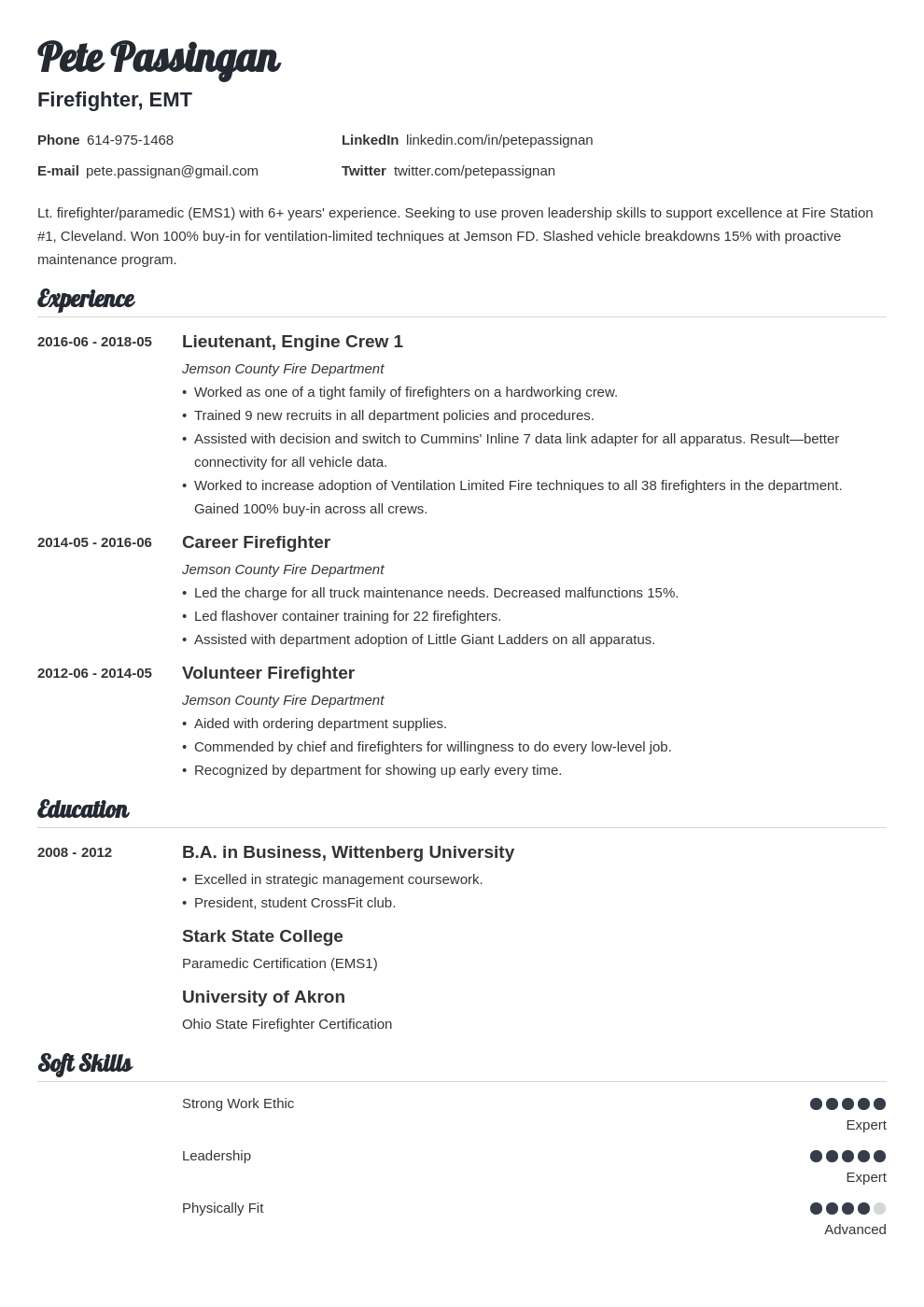 firefighter resume example template valera