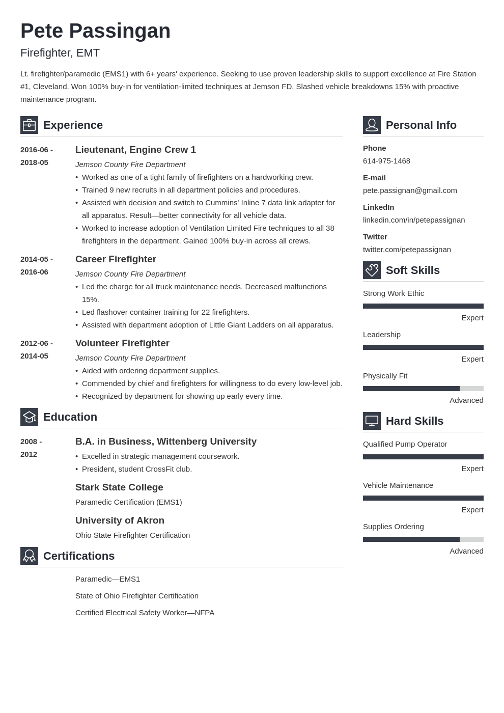 Fire Department Promotional Resume Template from cdn-images.zety.com