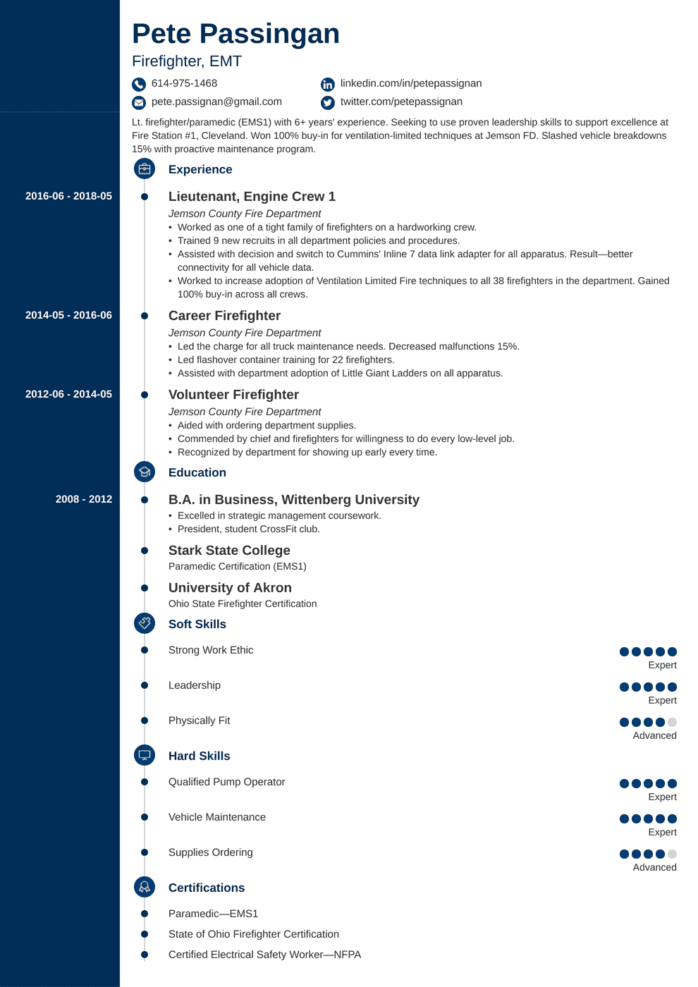 80+ Firefighter Resume Templates - Firefighter Resume Sample