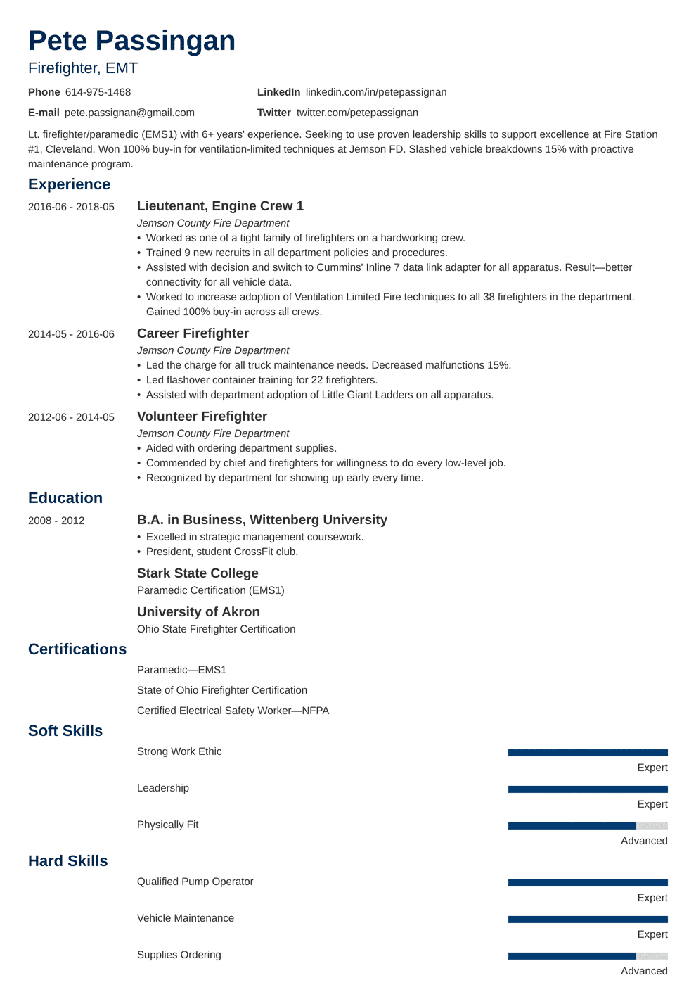 Firefighter Resume Examples Template Writing Guide With 20 Tips