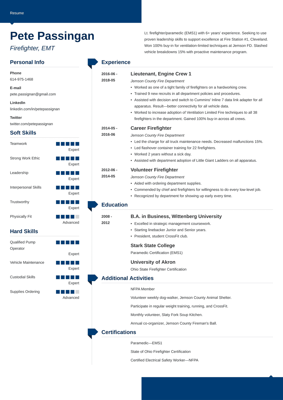 Firefighter Resume Examples (Template, Guide 20+ Tips)