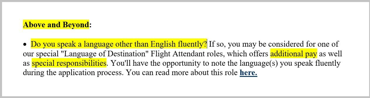 flight attendant resume matched with job description