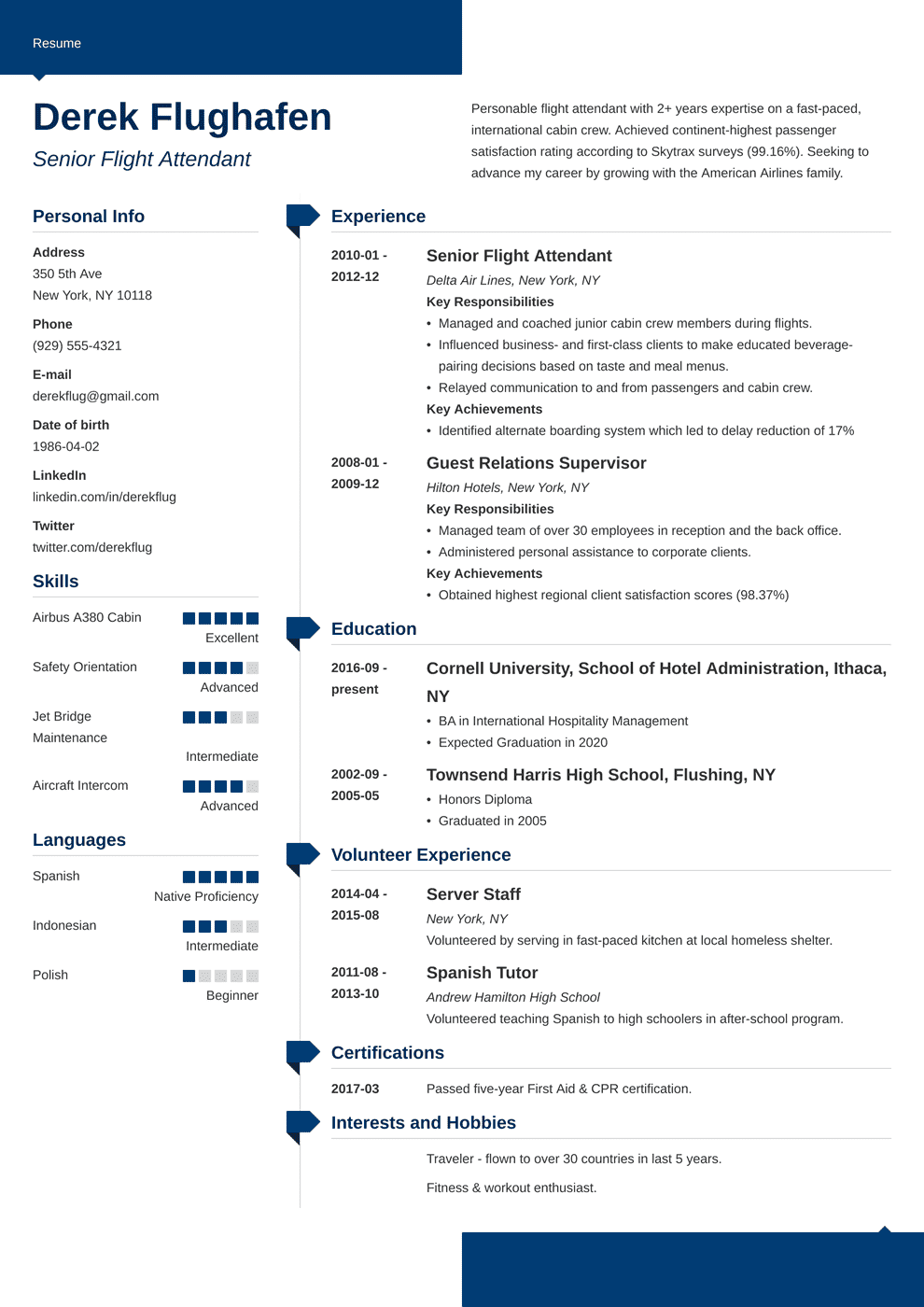 resume for flight attendant with no experience