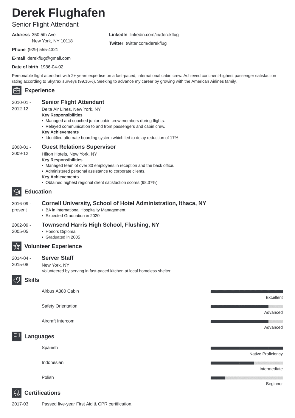 Flight Attendant Resume Sample [Also With No Experience]