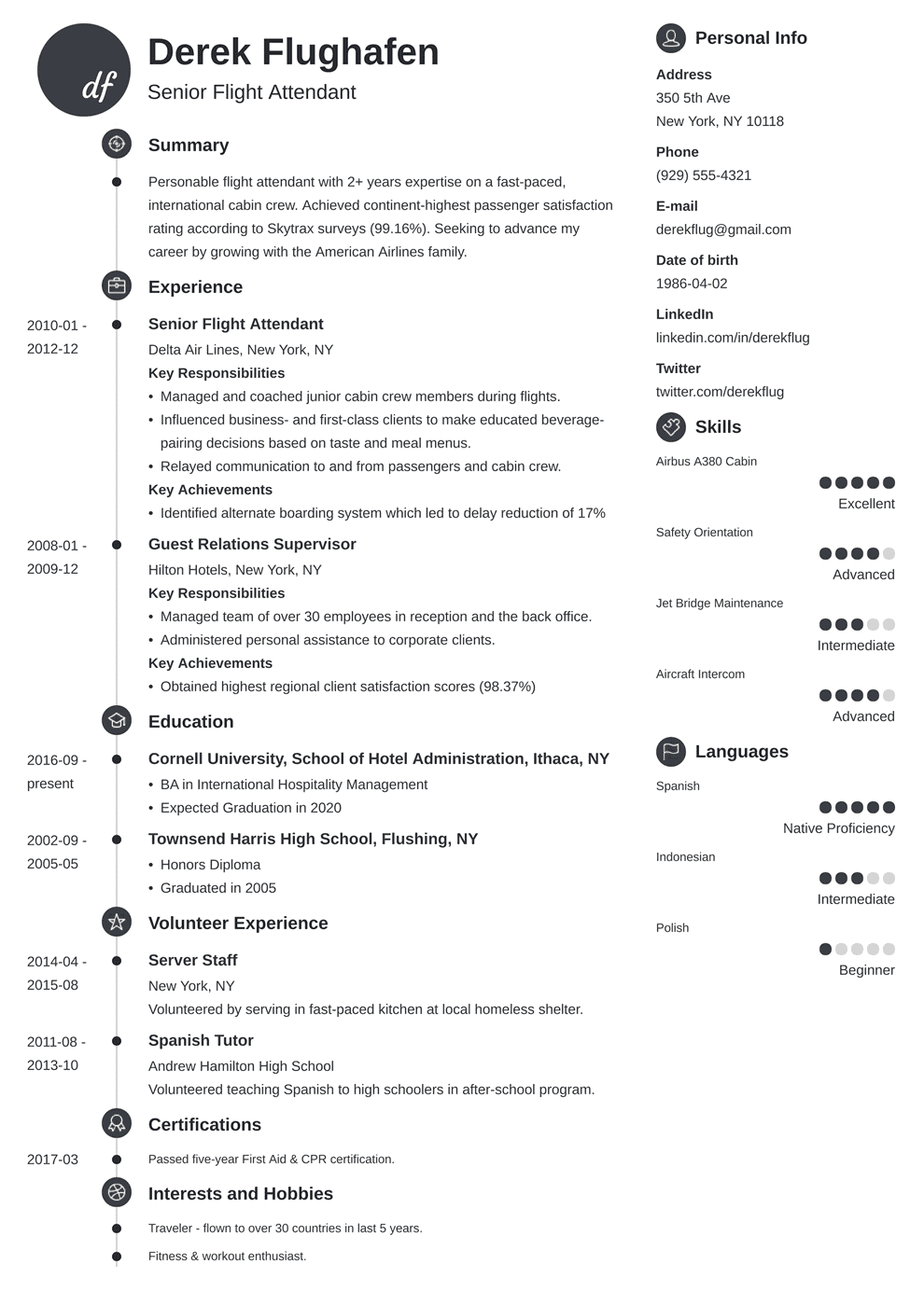 Flight Attendant Resume: Sample & Complete Guide [20+ Examples]