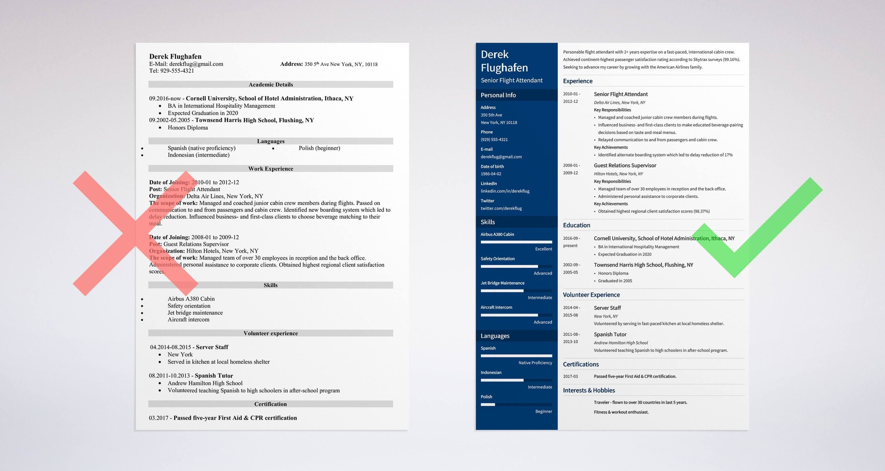 flight attendat resume templates
