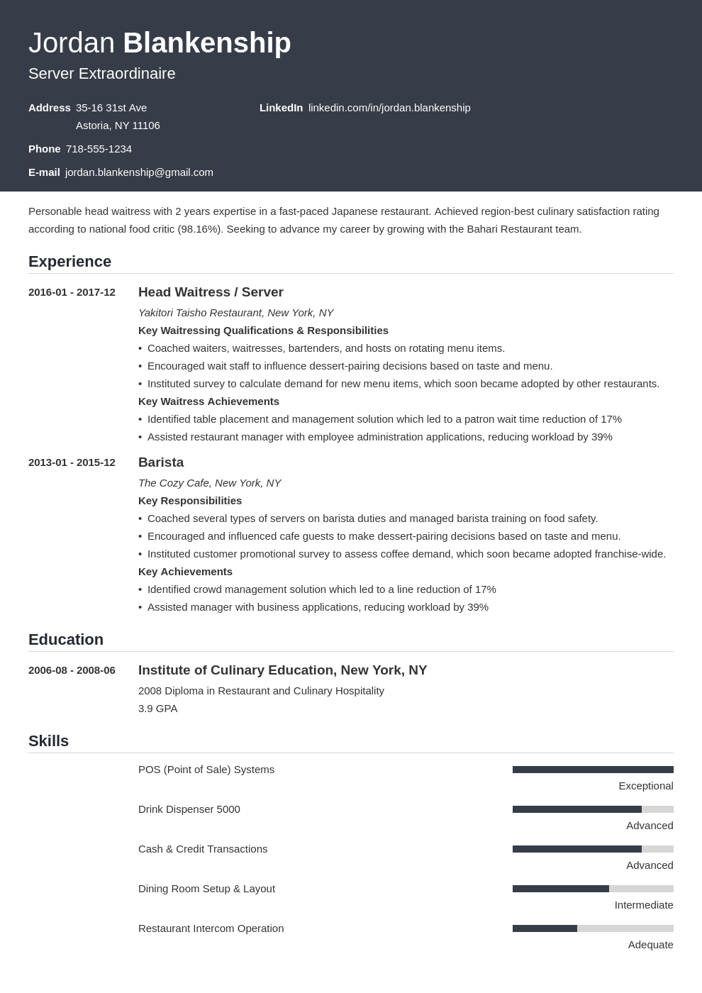 food service resume example template influx