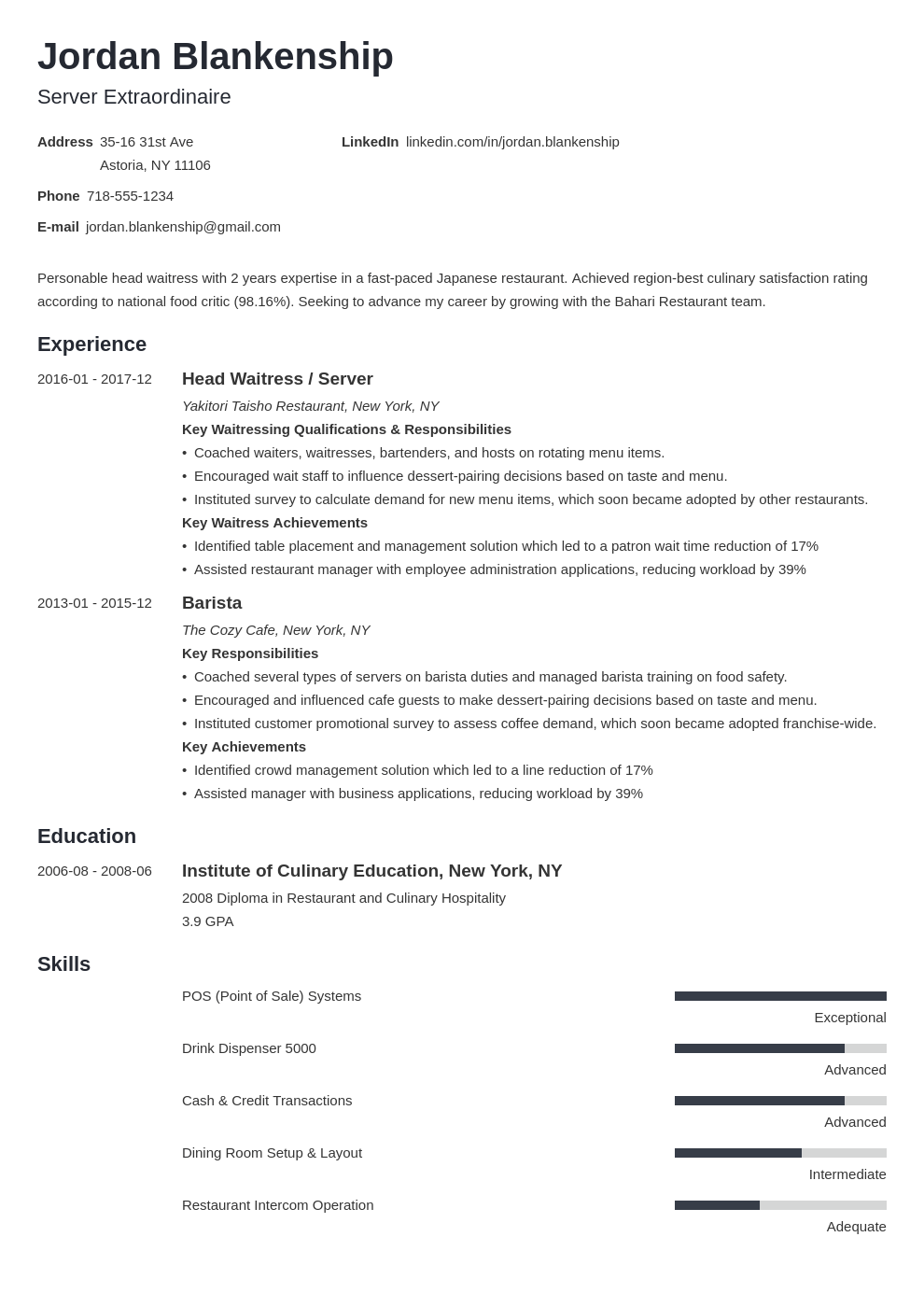 food service resume example template minimo