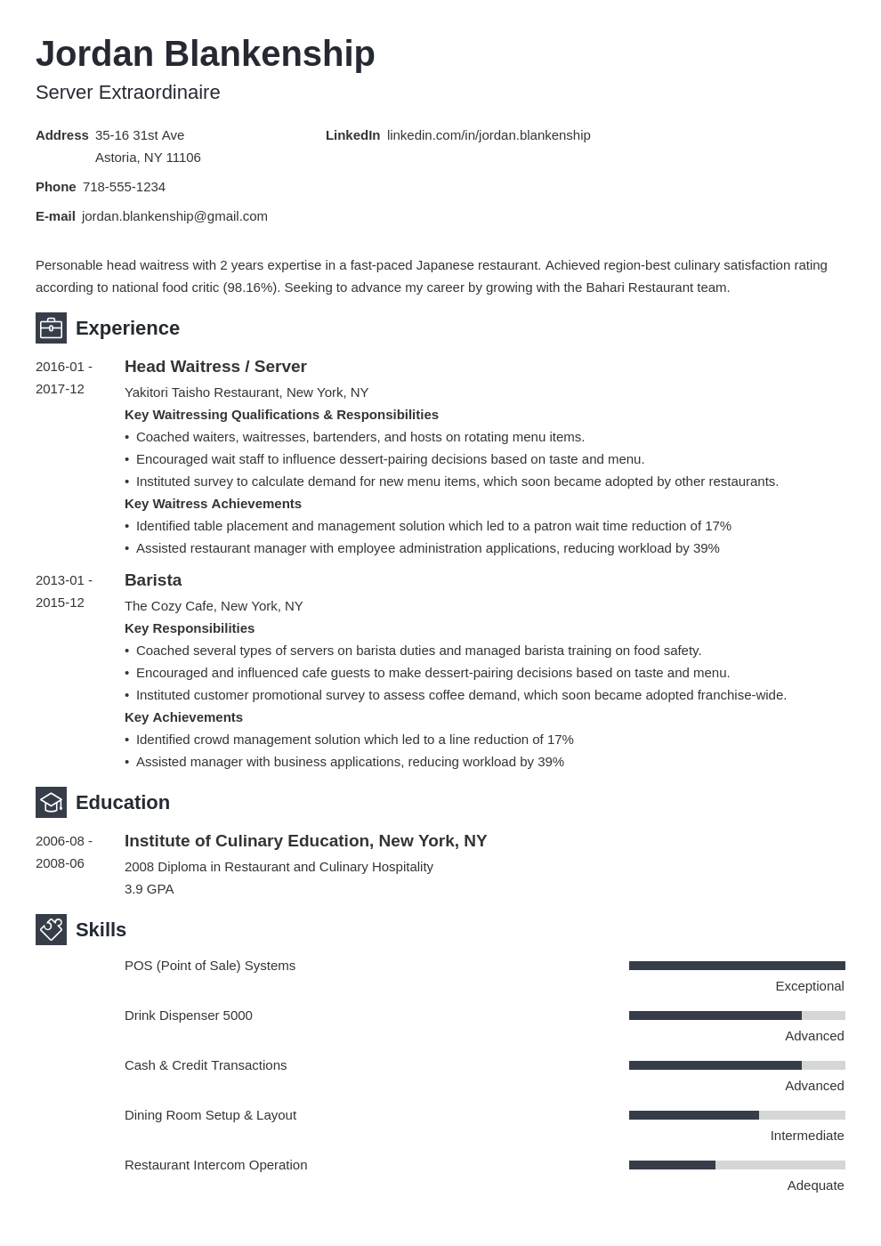 food service resume example template newcast