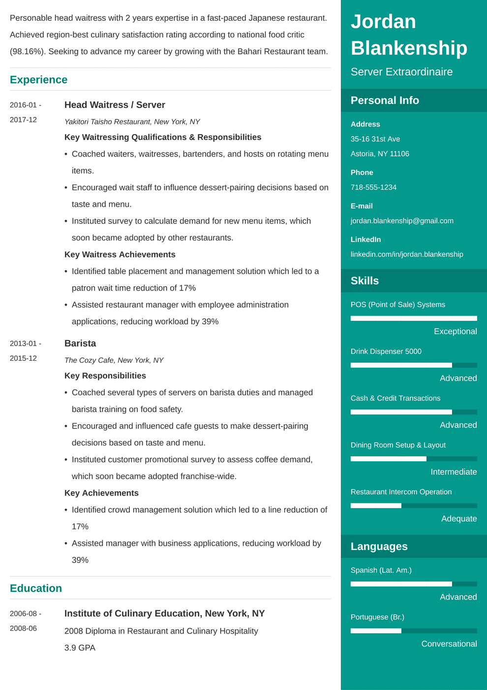 food service resume examples with skills  job description