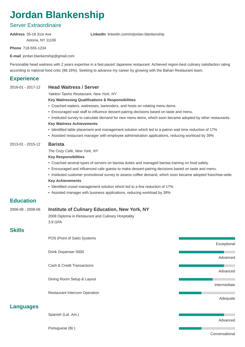 Food Service Resume Sample Writing Guide 20 Examples
