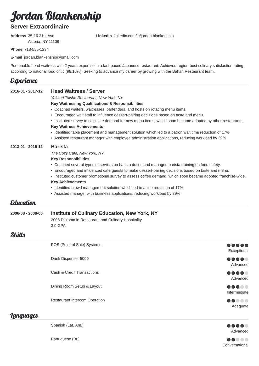 Food Service Resume Sample Guide 20 Examples