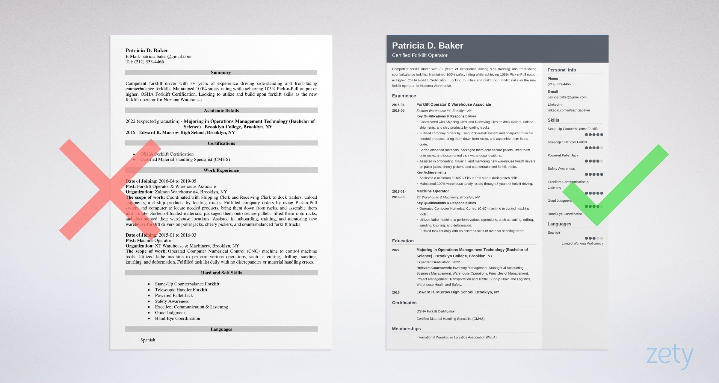 forklift operator resume templates