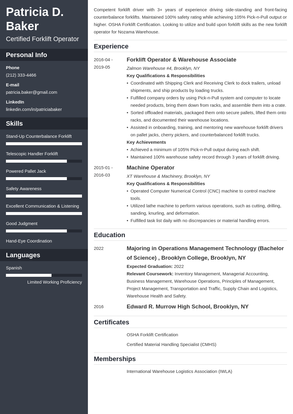 forklift operator resume example template cascade