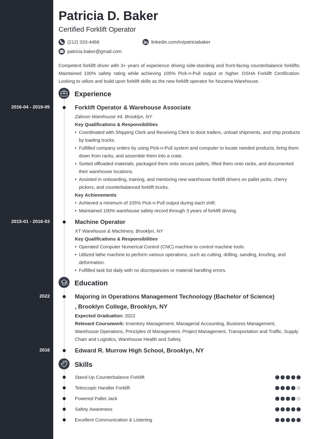 forklift operator resume example template concept
