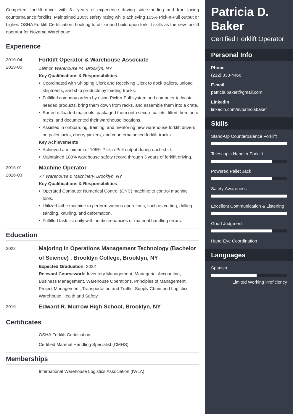 forklift operator resume example template enfold