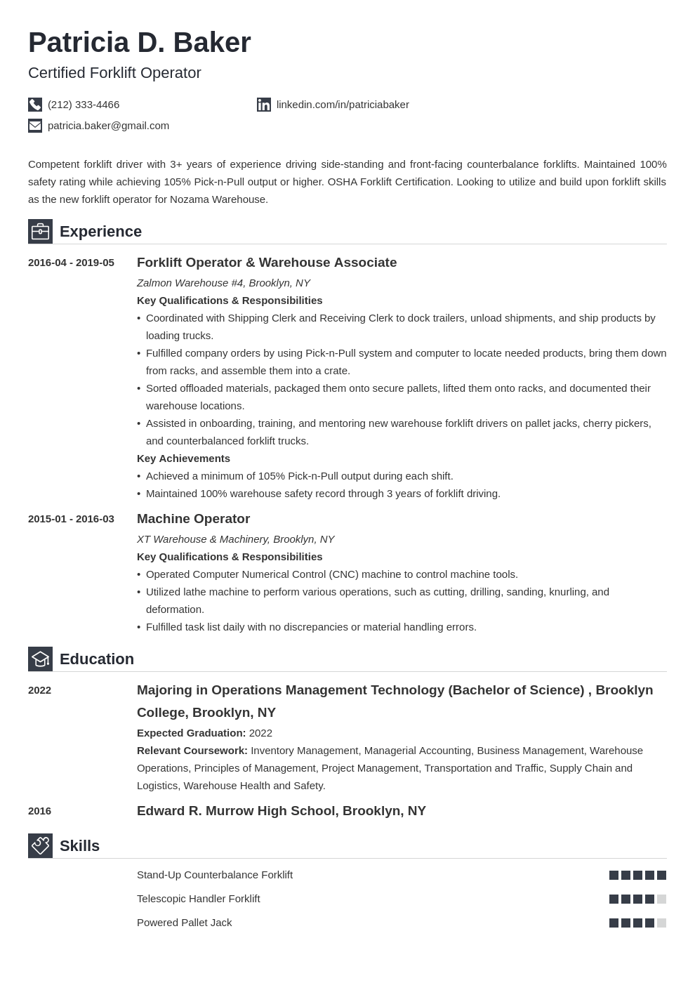forklift operator resume example template iconic