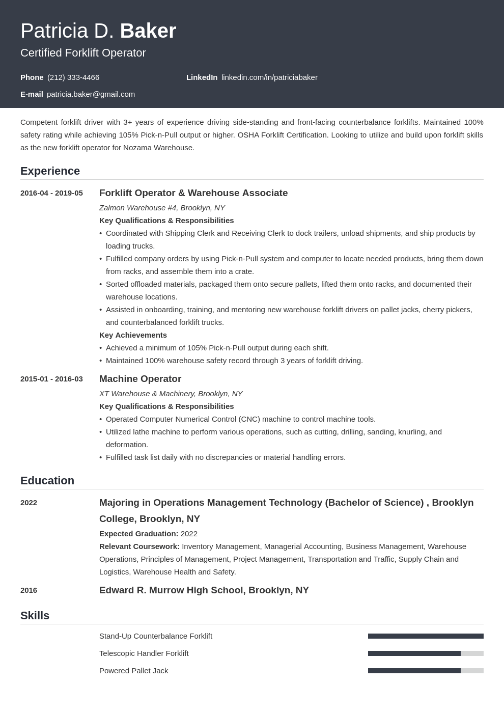 forklift operator resume example template influx