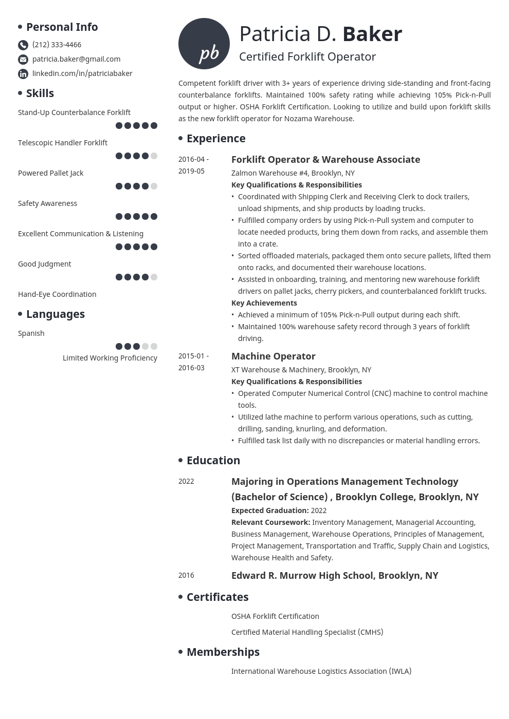 forklift operator resume example template initials