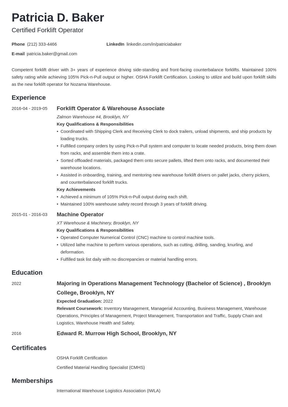 forklift operator resume example template minimo