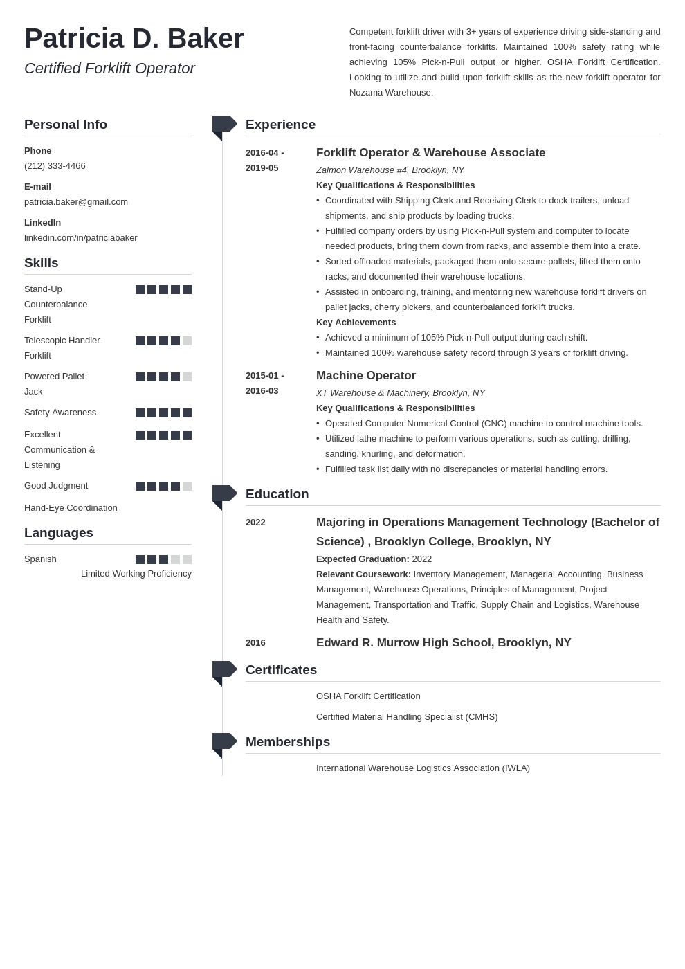 forklift operator resume example template muse