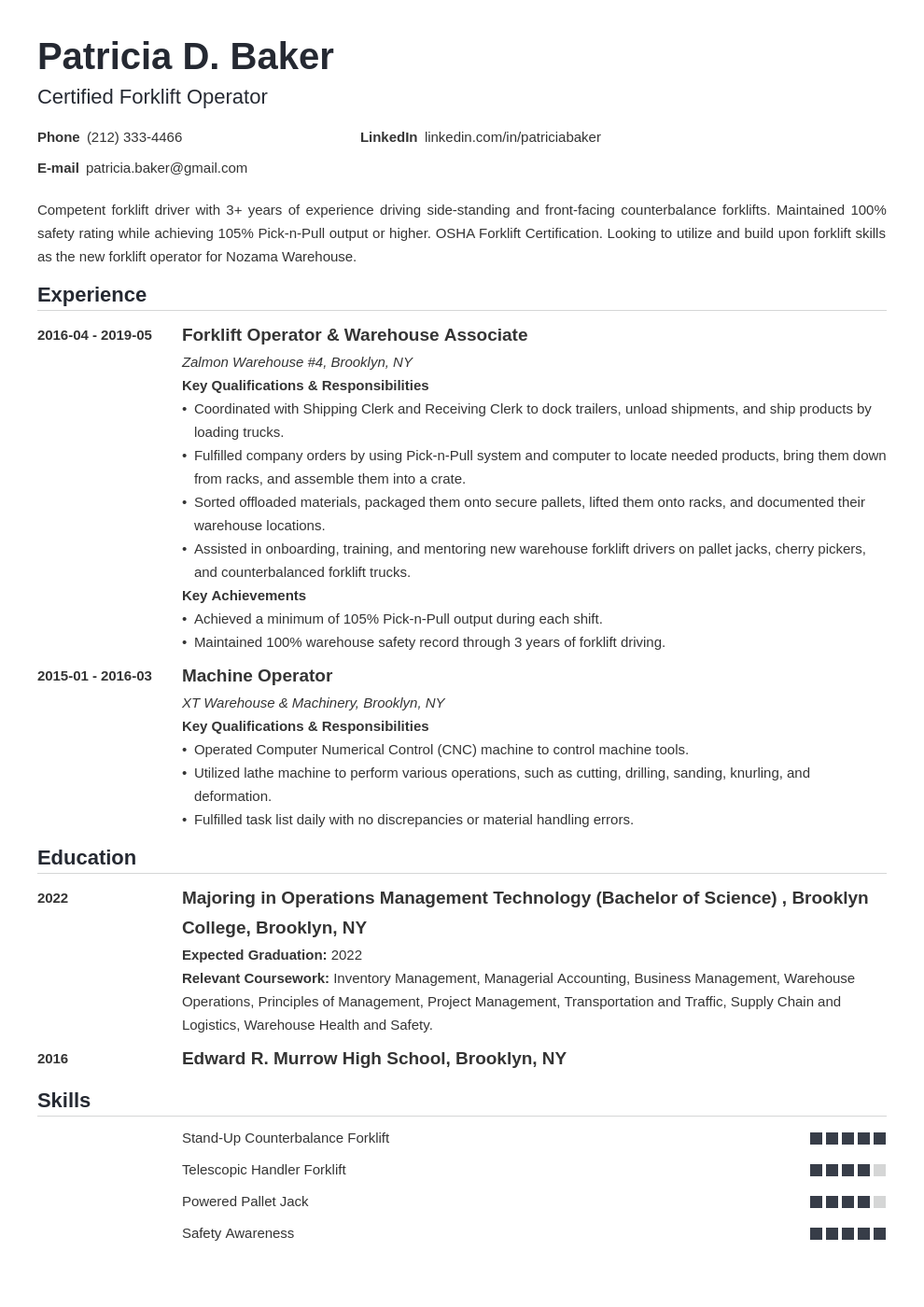 forklift operator resume example template nanica
