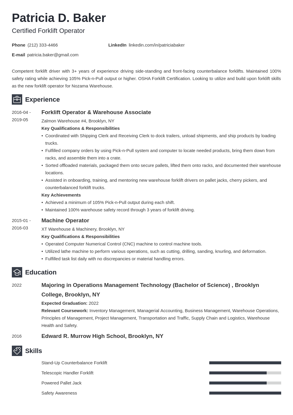 forklift operator resume example template newcast